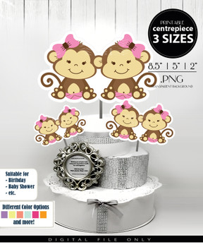 Twin Baby Monkey Centerpiece, Cake Topper, Clip Art Decoration for Girl Baby Shower in Brown & Light Pink with Hair Bow - 3 SIZES, PNG FILES