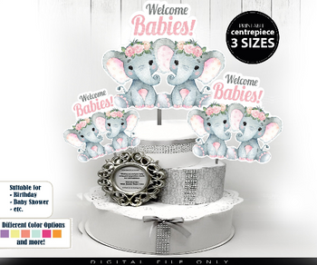 Twin Peanuts Elephants Centrepiece for Two Babies Girls Shower in Pink Floral Crown PNG twins baby shower, two elephants shower decorations
