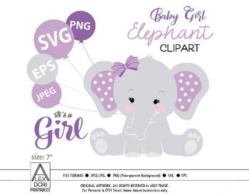 Purple Elephant SVG, clip art, girl peanut purple baby shower, cute little baby elephant, baby balloons, nursery art, commercial use