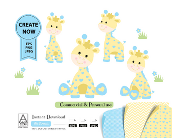 Boy Giraffe clip art, blue and yellow cute little boy giraffe for safari nursery, baby shower, table decoration. Vector file included.