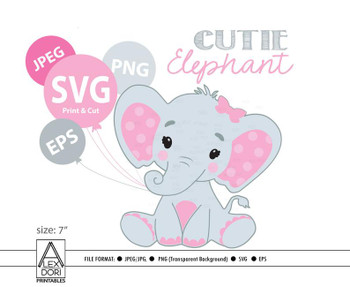 Elephant svg file, Pink elephant clip art, girl cricut print and cut. Simplified svg included sihouette, cricut cutting.Watercolor elephant