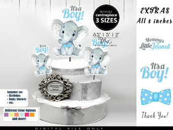 Boy Elephant with Blue Bow Tie Centrepiece, topper, decoration for Baby Boy Shower in Polka Blue & Gray,it's a boy, create your own decor