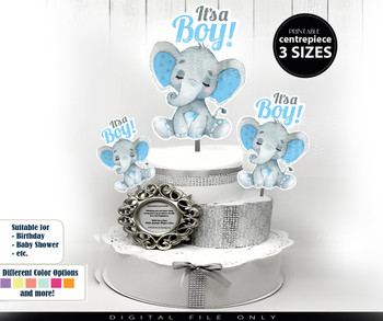 Sleeping Peanut Elephant Centrepiece for Baby Boy Shower in Light Blue & Gray with Hair Bow PNG - 3 Sizesm closed eyes with lashes,birthday