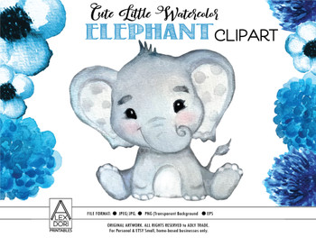 Watercolor Elephant Clip Art