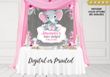 Girl Elephant Backdrop,baby shower candy Table Backdrop,Digital Backdrop,birthday,Pink gray Elephant,Floral,printable option in 8 different sizes