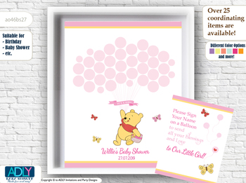 Winnie the Pooh Baby Shower Guestbook for baby girl, winnie the pooh baby shower pritnables, birthday printables in pink and yellow