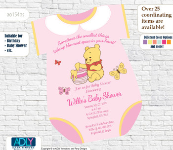 Winnie the pooh Onesies Girl Invitation for Baby Shower, powder pink,white lace,little girl baby shower, oneies -oz154bs