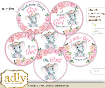 Baby Shower Girl Elephant Cupcake Toppers Printable File for Little Girl and Mommy-to-be, favor tags, circle toppers, Rose, Pink