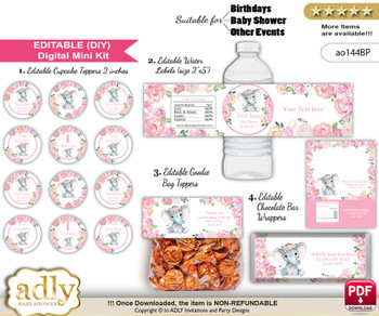 DIY Text Editable Girl Elephant Baby Shower, Birthday digital package, kit-cupcake, goodie bag toppers, water labels, chocolate bar wrappers m