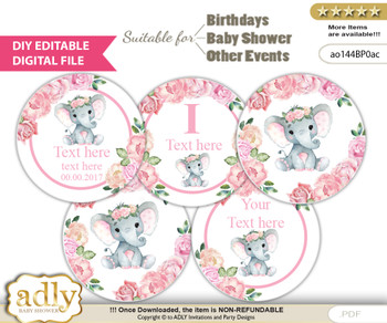 DIY Text Editable Girl Elephant Cupcake Toppers Digital File, print at home, suitable for birthday, baby shower, baptism mm