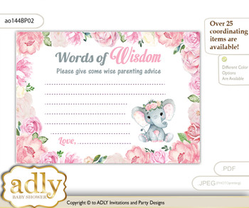 Pink Girl Elephant Words of Wisdom or an Advice Printable Card for Baby Shower, Rose m