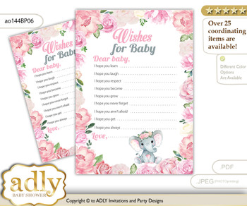 Girl Elephant Wishes for a Baby, Well Wishes for a Little Elephant Printable Card, Rose, Pink mm
