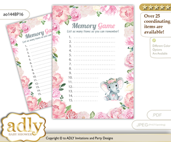 Girl Elephant Memory Game Card for Baby Shower, Printable Guess Card, Pink, Rose m
