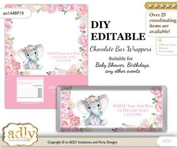 DIY Personalizable Girl Elephant Chocolate Bar Candy Wrapper Label for Girl  baby shower, birthday Pink , editable wrappers mm