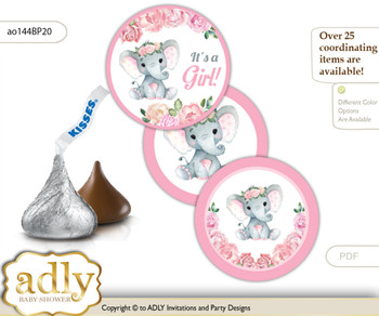 Printable  Girl Elephant Candy Kisses for Baby Girl Shower DIY Pink , Rose m