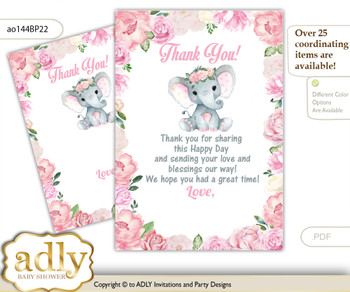 Girl  Elephant Thank you Cards for a Baby Girl Shower or Birthday DIY Pink, Rose