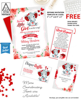 Elephant Red Gray Baby Shower Ultrasound Invitation -Printable Photo Invitation - Peanut Invite-FREE Diaper Raffle, book request