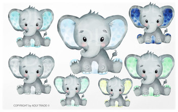 Cute Elephant Boy Watercolor clip art, baby blue elephant, mint green elephant, yellow elephant, turquoise elephant, polka dot, commercial use