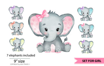 Cute Elephant Girl Watercolor set, pink elephant, purple elephant, turquoise purple, peach, yellow elephant, yellow purple elephant, teal pink
