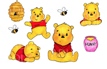 Baby  Winnie The Pooh Clipart, watercolor winnie pooh, sleeping baby winnie pooh, jumping bear, beehive, honey, bees Clipart, Printable, Yellow bear, watercolor, PNG.