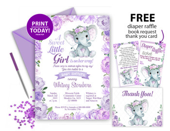 Floral Purple Elephant Invitation for Baby Shower in simple background with floral edges,  Editable invitation template, printable invitation card, lavender, roses, floral crown