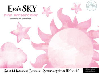 Evas pink sky clipart, pink water color clipart, 14 different elements, rainbow clipart,pink watercolor cliparts for commercial use