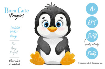 cute baby penguin girl / Boy watercolor ,vector, peguin clip art, scalable watercolor image for banner, large designs, shower decor, nursery wall art, eps