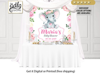 Floral Roses Elephant Backdrop,baby shower candy Table Backdrop,Digital Backdrop,birthday, Elephant,printable option in 8 different sizes