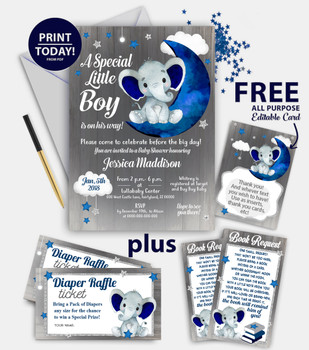 Navy Elephant Baby Shower Invitation Kit with Diaper raffle, DIY text editable thank you cards, book request, editable invitation template