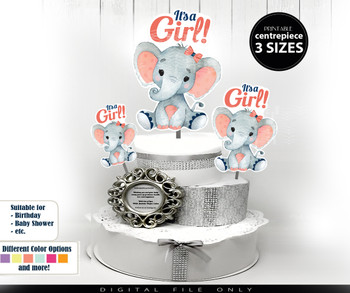 Coral Navy Elephant Centrepiece with Bow for Baby Girl Shower, dark blue peach baby girl elephant, PNG 3 sizes digital file salmon blue gray