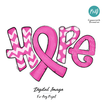 Pink Hope Sublimation, breast cancer awareness pink ribbon digital image, PNG, doodle art, fun letters, hand drawn clip art, image transfer