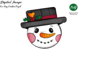 Snowman Sublimation, Christmas design, cute snowan transfer, clip art, PNG,snowman in hat, doodle clip art, snowman face,rustic wood snowman