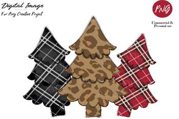 Christmas Tree Design, Christmas sublimation,leopard pine tree transfer, clip art, PNG,winter doodle clip art, rustic, red black plaid art