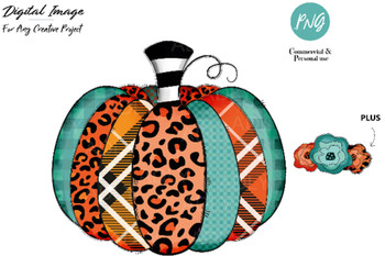 Pumpkin sublimation, pumpkin HTV transfer image with leopard orange turuqoise teal, diy fall transfer, fall clip art pumpkin t-shirt flowers