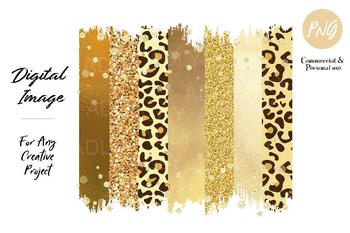 Yellow Leopard Brush Strokes Sublimation transfer clip art, butter glitter gold digital transfer, png image, t-shirt background, brimstone