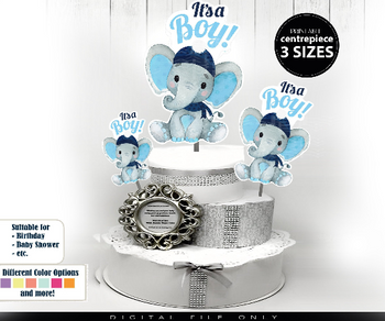 Winter Elephant Centrepiece for Baby Boy Shower in Baby Blue & Navy boy peanut with hat amd scarf 3 Sizes diaper cake topper diy table decor
