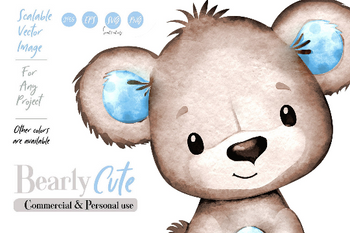 Watercolor Brown Blue Bear clip art with baby blue polka ears. Hand-drawn watercolor bear illustration for baby shower, vector teddy cub