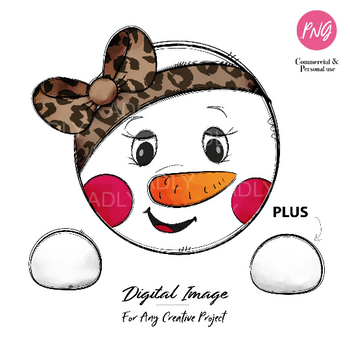 Brown bow Girl Snowman design, Snow girl winter transfer image for t-shirt, new year sublimation, cute little girl snowman clip art with pink bow