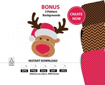 Boy Reindeer clipart,christmas deer instant download svg, santa hat,chevron polka dots ,Antlers Decal Christmas dfx png,Red Nosed Reindeerr
