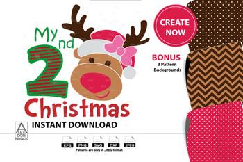 My 2nd Christmas Girl Reindeer SVG Clipart Instant Download Chevron Print Polka Dot Print, digital clip art, reindeer design for t-shirt