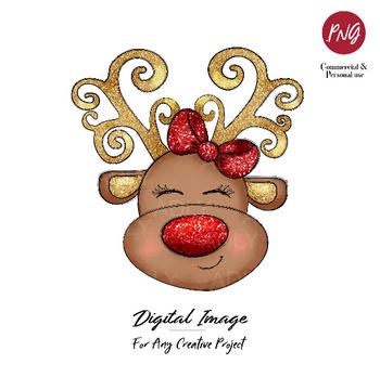 Reindeer sublimation, Christmas clip art, cute girl reindeer with red bow, PNG, transfer print deer design, gold glitter reindeer doodle artt
