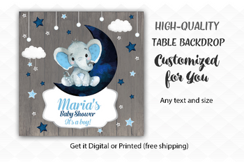 Navy Elephant Boy Table Backdrop, Moon, Clouds, Stars Twinkle Little Baby Elephant desert banner, back drop,watercolor elephant sign, blue