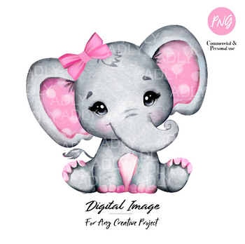 Watercolor girl elephant clip art, very cute little peanut,Pink gray polka ears bow, commercial usage baby shower sublimation african animal