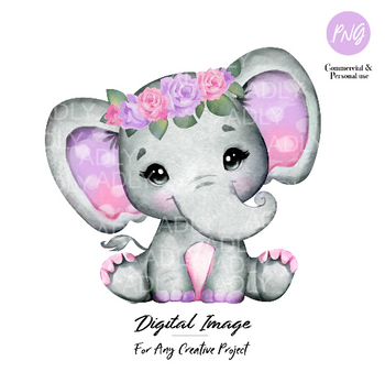Purple Pink elephant clip art, watercolor cute little peanut,purple floral hairband, polka ears commercial use shower sublimation animal