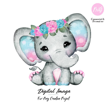 Purple Turquoise elephant clipart, watercolor cute little peanut,purple floral hairband, polka ears commercial use shower sublimation animal