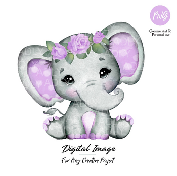 Purple Floral elephant clip art, watercolor cute little peanut,lavender polka ears hairband commercial use baby shower sublimation animal