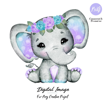 Purple Teal elephant clip art, watercolor cute little peanut,lavender floral polka ears hairband commercial use baby shower african animal
