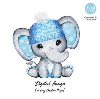Elephant clip art blue winter hat, very cute little peanut, baby blue gray polka ears commercial usage, baby shower, birthday, watercolor
