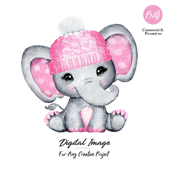 Watercolor elephant girl clip art, pink hat baby elephant with Pink polka ears, commercial usage baby shower sublimation african animal