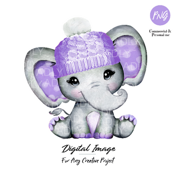 Purple elephant girl clip art, winter hat baby elephant with lavender polka ears, commercial usage baby shower sublimation african animal
